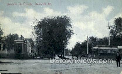 Hall Ave. & State St. - Marinette, Wisconsin WI Postcard