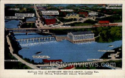 Birds Eye View - Wisconsin Dells Postcards, Wisconsin WI Postcard