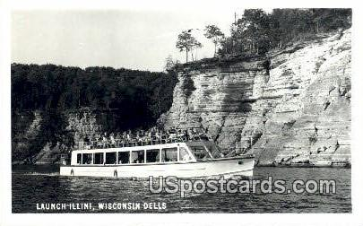 Launch Illini - Wisconsin Dells Postcards, Wisconsin WI Postcard