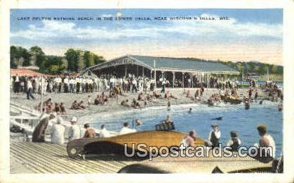 Lake Delton Bathing Beach, Lowerr Dells - Wisconsin Dells Postcards, Wisconsin WI Postcard