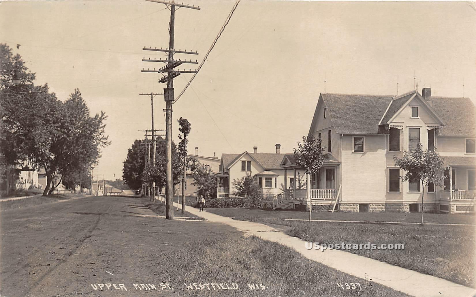 Upper Main Street - Westfield, Wisconsin WI Postcard