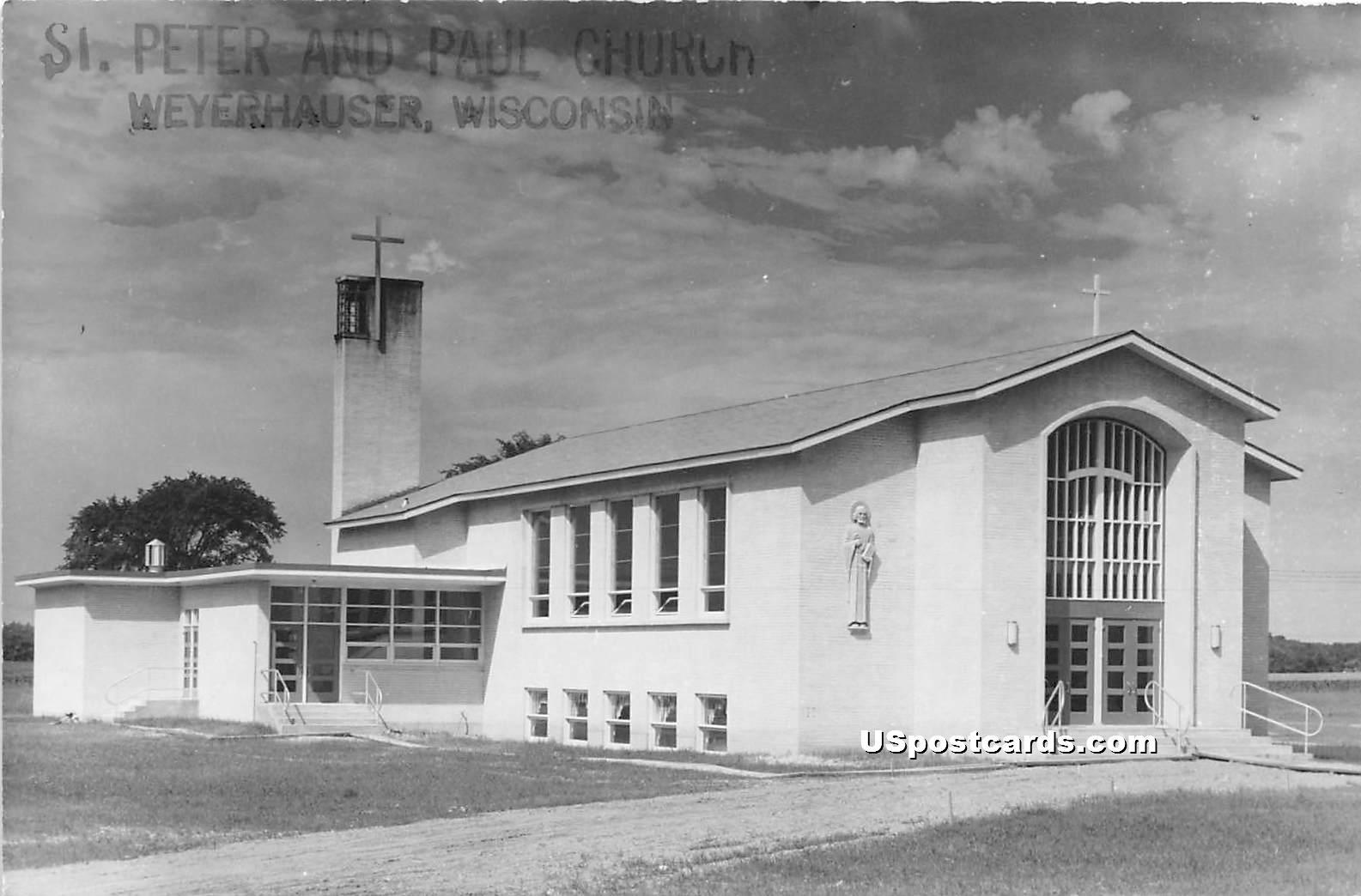 St Peter & Paul Church - Weyerhauser, Wisconsin WI Postcard