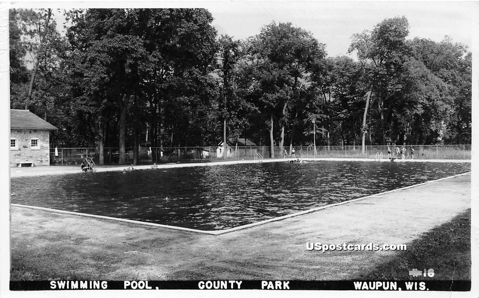 Swimming Pool - Waupun, Wisconsin WI Postcard