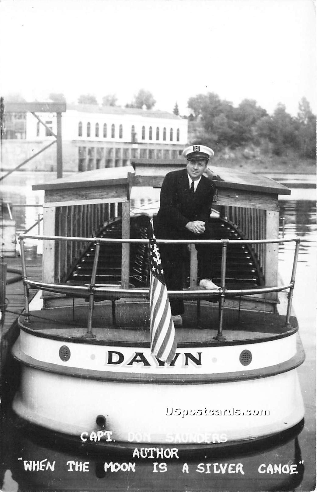 Capt Don Saunders, Author of When the Moon is a Silver Canoe - Wisconsin Dells Postcards, Wisconsin WI Postcard