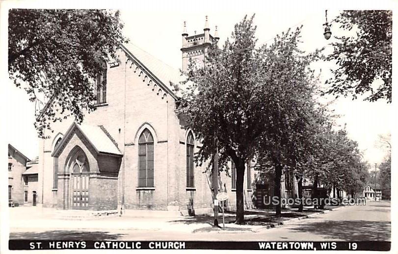 St Henry's Catholic Church - Watertown, Wisconsin WI Postcard