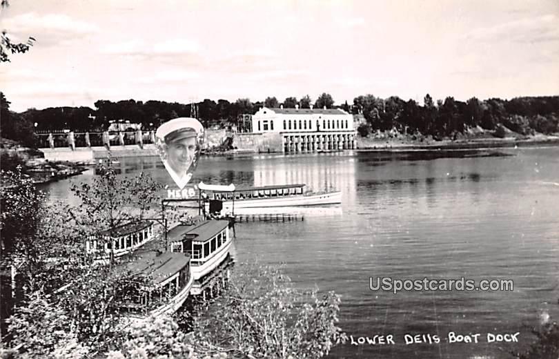 Lower Dells Boat Dock - Wisconsin Dells Postcards, Wisconsin WI Postcard