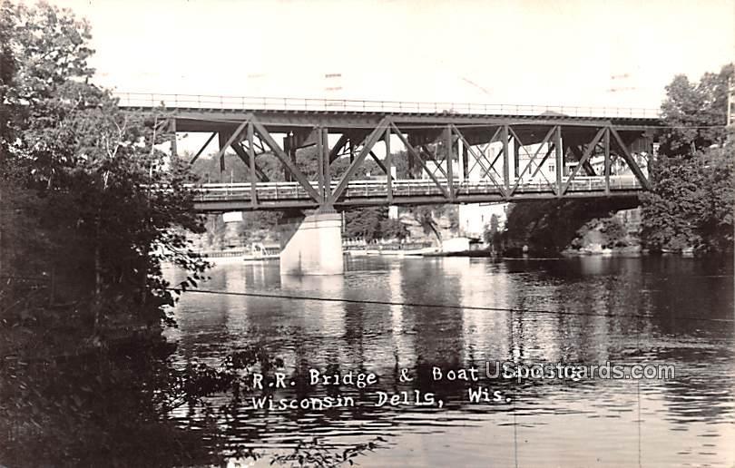 RR Bridge and Boat Landing - Wisconsin Dells Postcards, Wisconsin WI Postcard