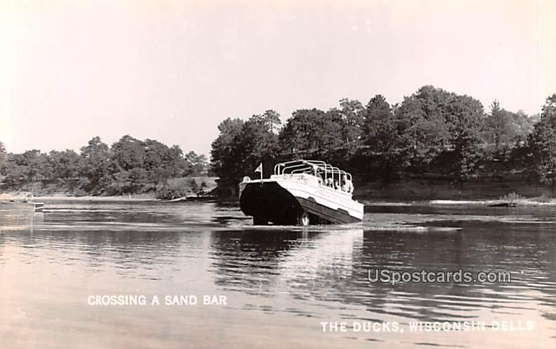Crossing a Sand Bar - Wisconsin Dells Postcards, Wisconsin WI Postcard