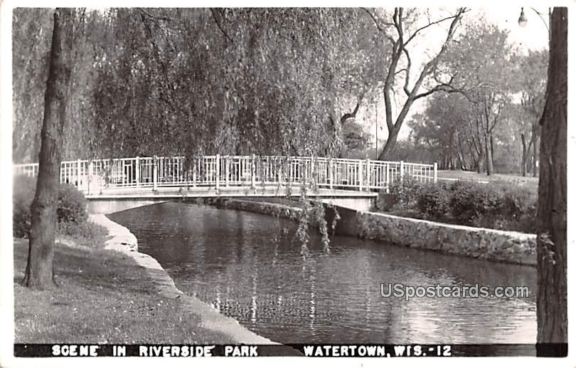 Riverside Park - Watertown, Wisconsin WI Postcard