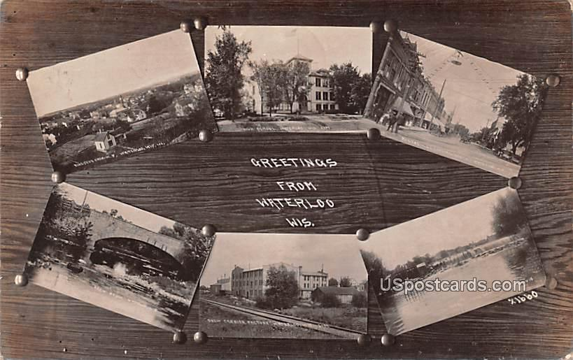Greetings from - Waterloo, Wisconsin WI Postcard
