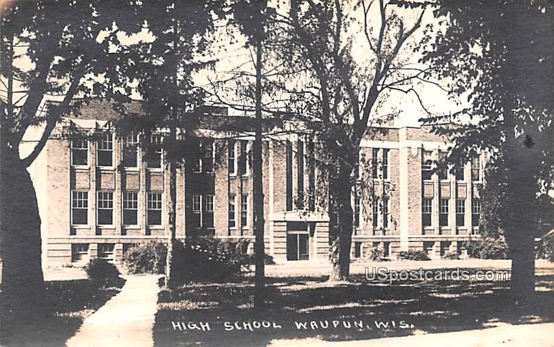 High School - Waupun, Wisconsin WI Postcard