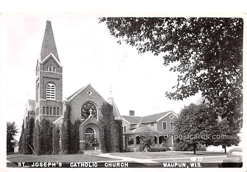 St Joseph's Catholic Church - Waupun, Wisconsin WI Postcard