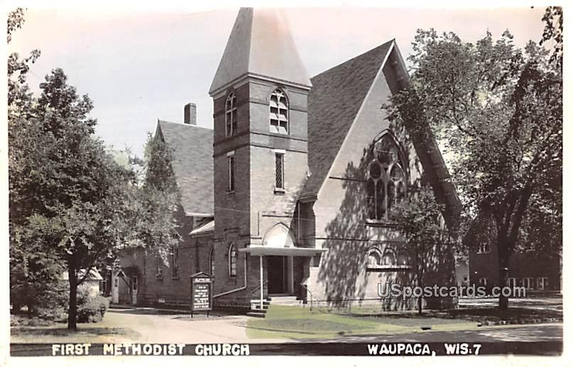 First Methodist Church - Waupaca, Wisconsin WI Postcard