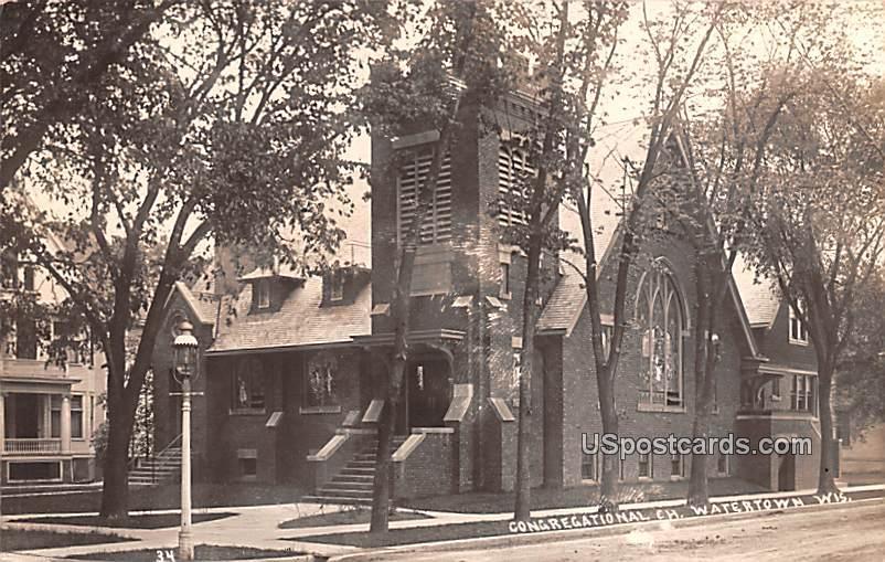 Congregational Church - Watertown, Wisconsin WI Postcard