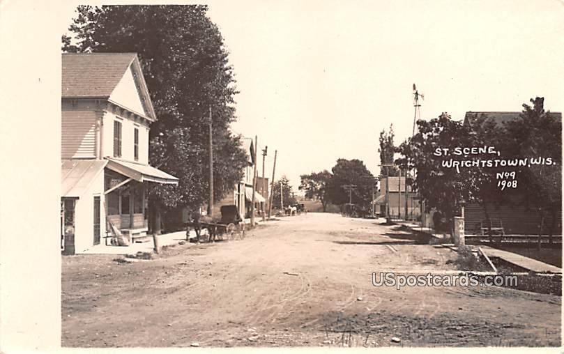 Street Scene - Wrightstown, Wisconsin WI Postcard