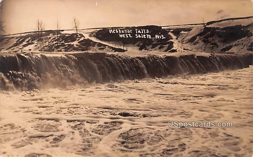 Neshonoc Falls - West Salem, Wisconsin WI Postcard