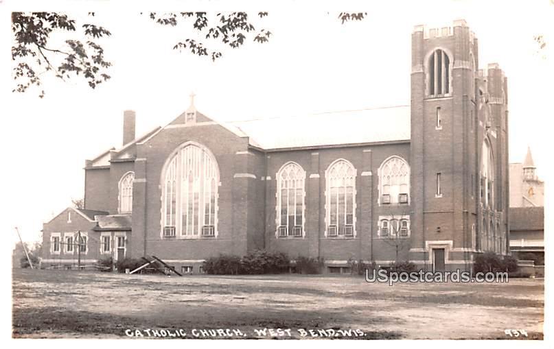 Catholic Church - West Bend, Wisconsin WI Postcard