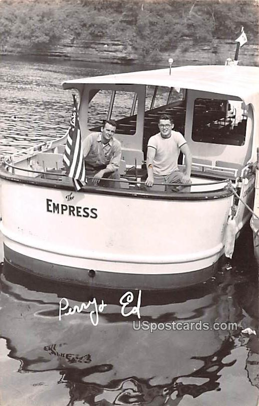 Perry and Ed on The Empress Boat - Wisconsin Dells Postcards, Wisconsin WI Postcard