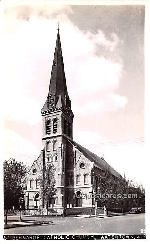St Bernards Catholic Church - Watertown, Wisconsin WI Postcard