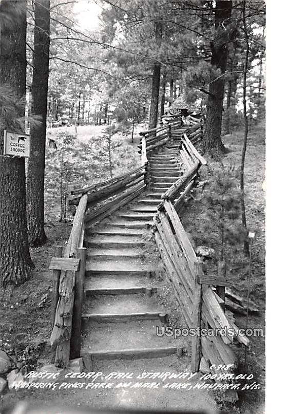 Rustic Cedar Rail Stairway - Waupaca, Wisconsin WI Postcard