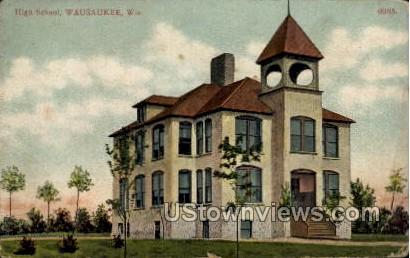 High School - Wausaukee, Wisconsin WI Postcard