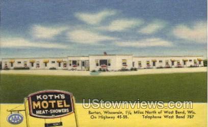 Koth's Motel  - Barton, Wisconsin WI Postcard