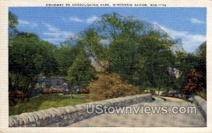 Driveway To Consolidated Park - Wisconsin Rapids Postcards, Wisconsin WI Postcard