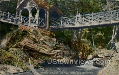 Rustic Bridge - Wissahickon, Wisconsin WI Postcard