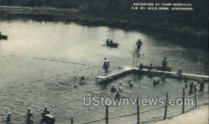 Swimming At Camp Mosheva - Wild Rose, Wisconsin WI Postcard