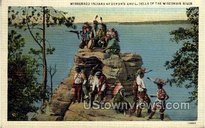 Winnebago Indians At Demon's Anvil - Wisconsin Dells Postcards, Wisconsin WI Postcard
