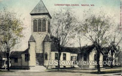 Congregational Church - Waupun, Wisconsin WI Postcard