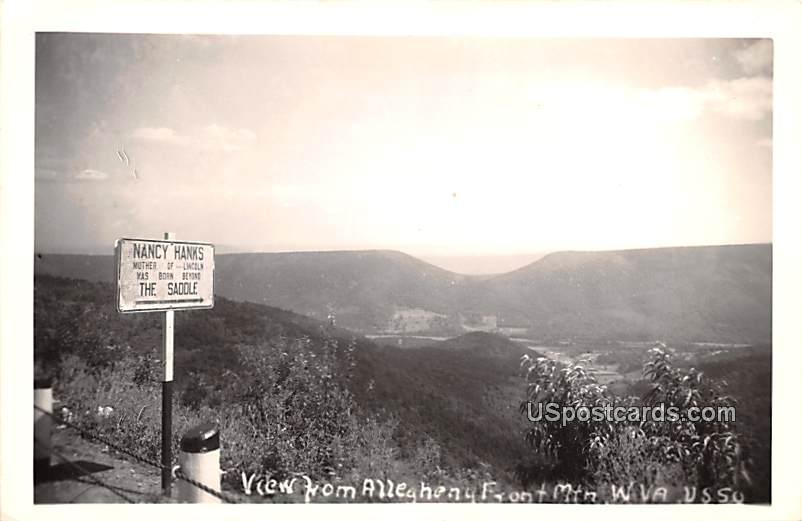 View from Alleghany Front Mountain - Allegheny Mountains, West Virginia WV Postcard