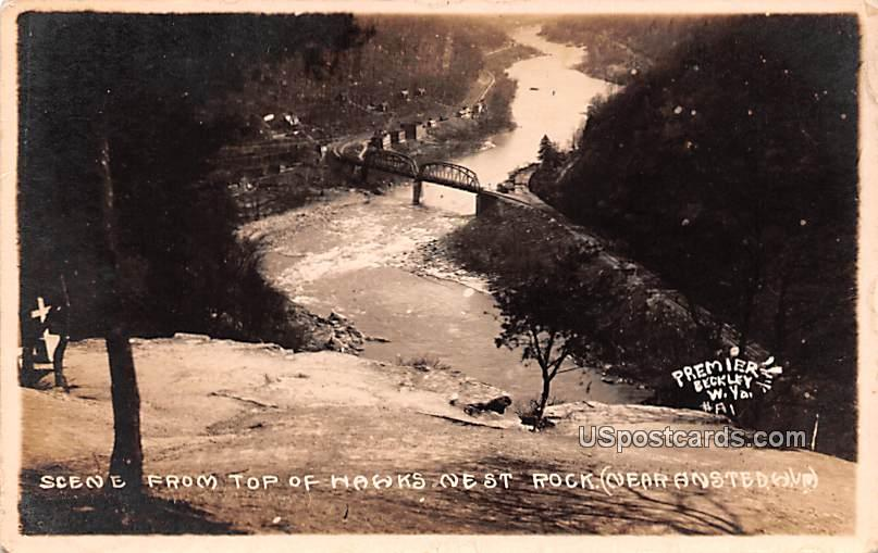 Scene from Top of Hawks Nest Rock - Amsted, West Virginia WV Postcard