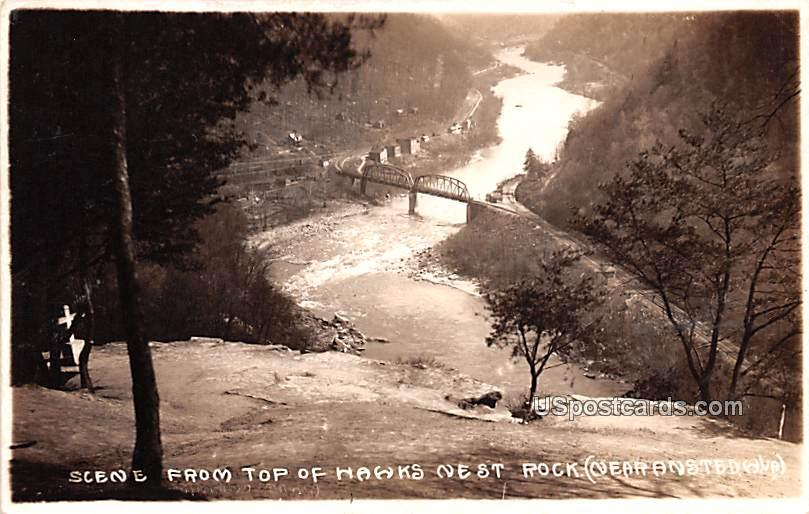 Scene from Top of Hawk's Nest Rock - Ansted, West Virginia WV Postcard