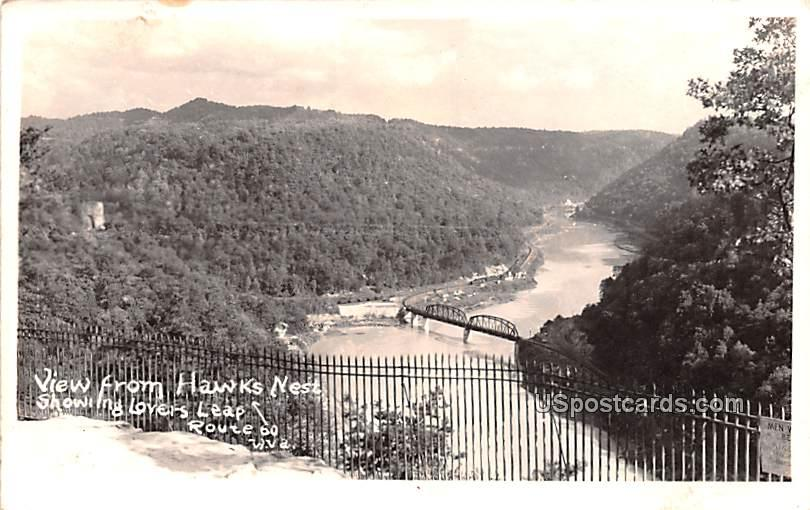 View from Hawk's Nest - Ansted, West Virginia WV Postcard