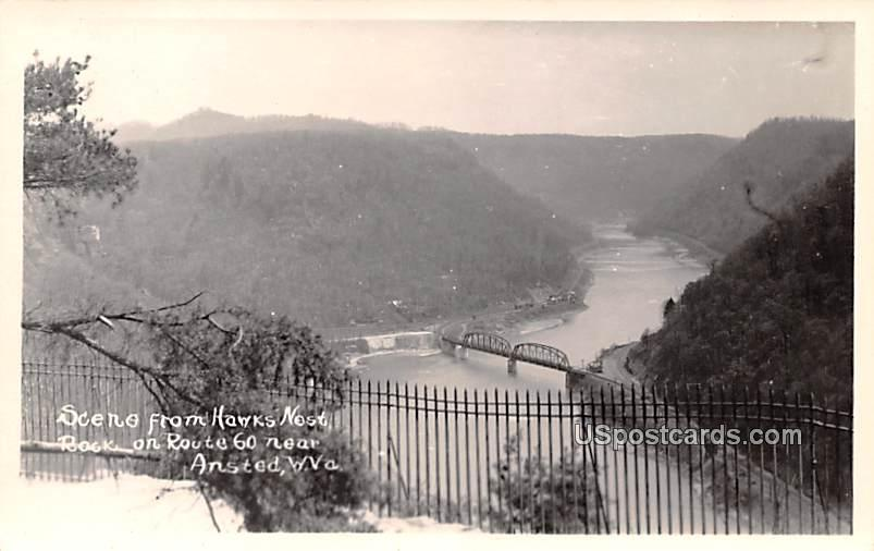 Scene from Hawks Nest - Ansted, West Virginia WV Postcard