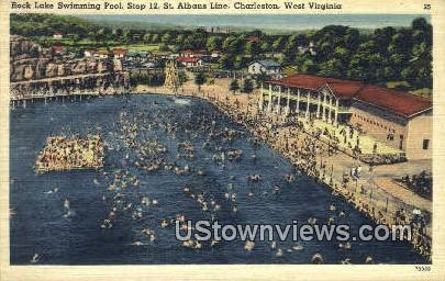 Rock Lake Swimming Pool - Charleston, West Virginia WV Postcard