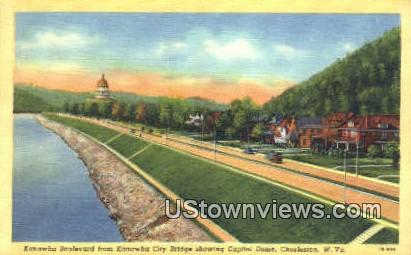 Kanawha City Bridge, Capitol Dome - Charleston, West Virginia WV Postcard
