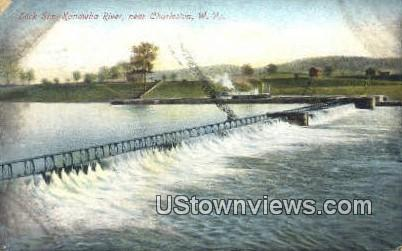 Lock Six Kanawha River - Charleston, West Virginia WV Postcard
