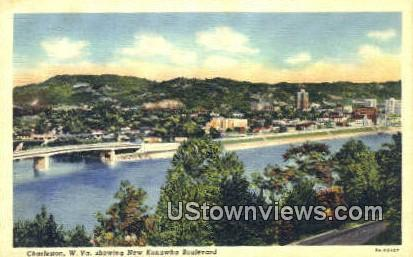 New Kanawha Blvd - Charleston, West Virginia WV Postcard