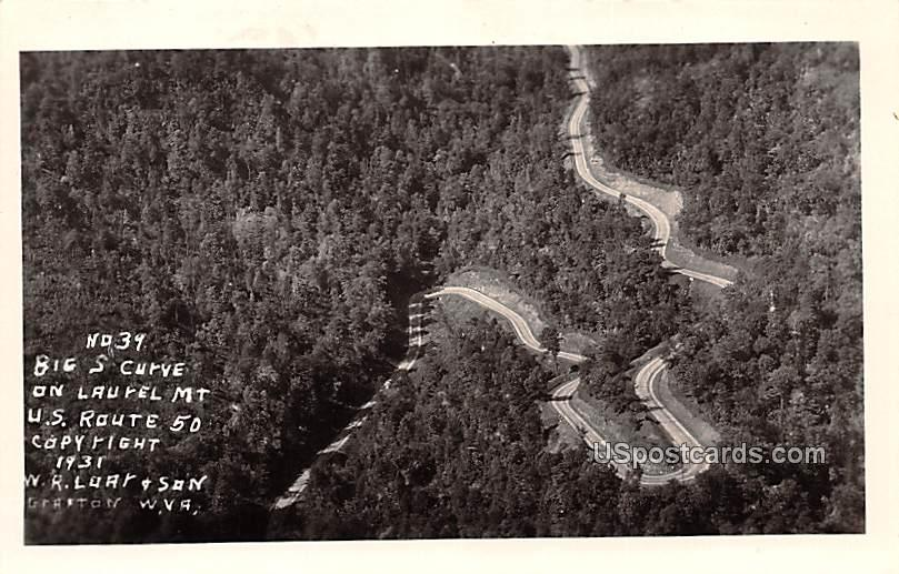 Big S Curve on Laurel Mountain - Grafton, West Virginia WV Postcard