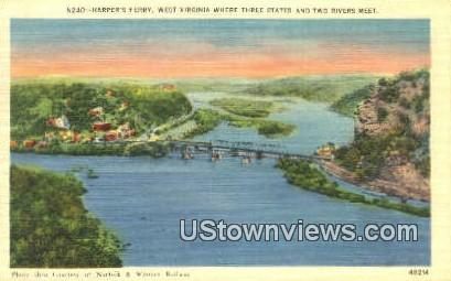 Three States & Two Rivers Meet - Harpers Ferry, West Virginia WV Postcard
