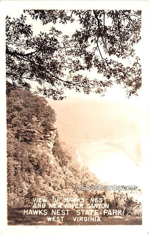 View of Hawks Nest and New River Canyon - Hawks Nest State Park, West Virginia WV Postcard