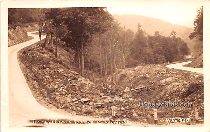 Turn and Curves Route 50 - Laurel Mountain, West Virginia WV Postcard