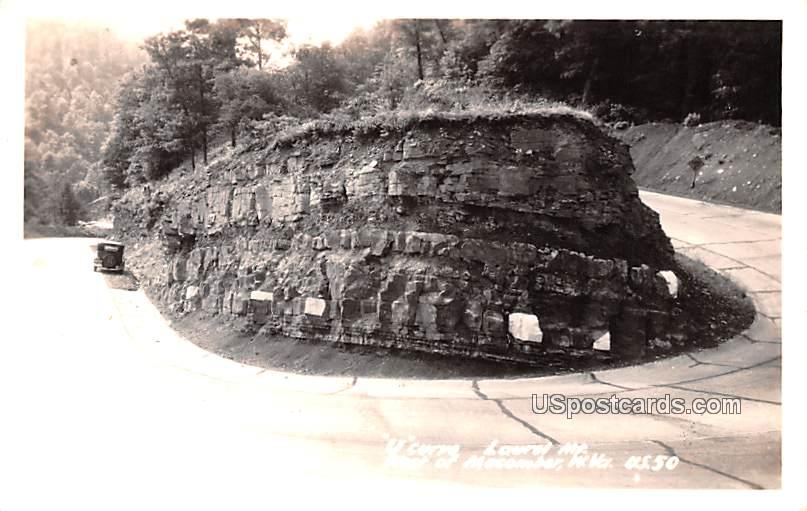 U Curve, Laurel Mountain - Macomber, West Virginia WV Postcard