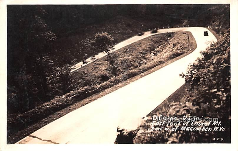 U Curve US 50 - Macomber, West Virginia WV Postcard