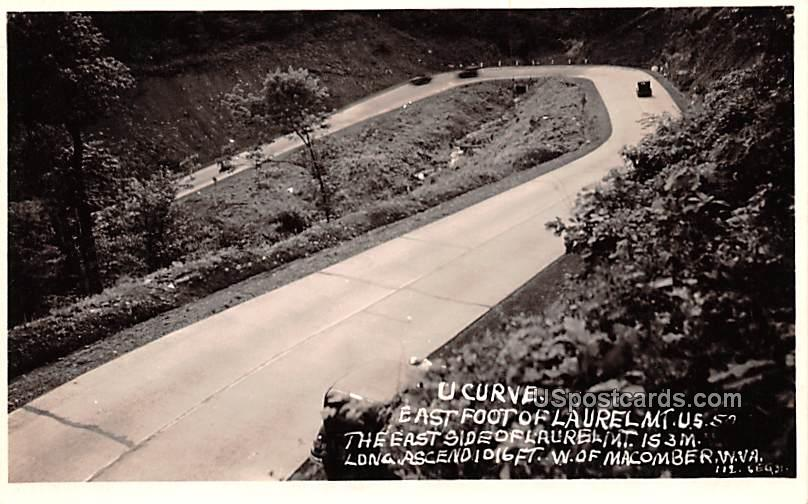 U Curve East foot of Laurel Mountain - Macomber, West Virginia WV Postcard