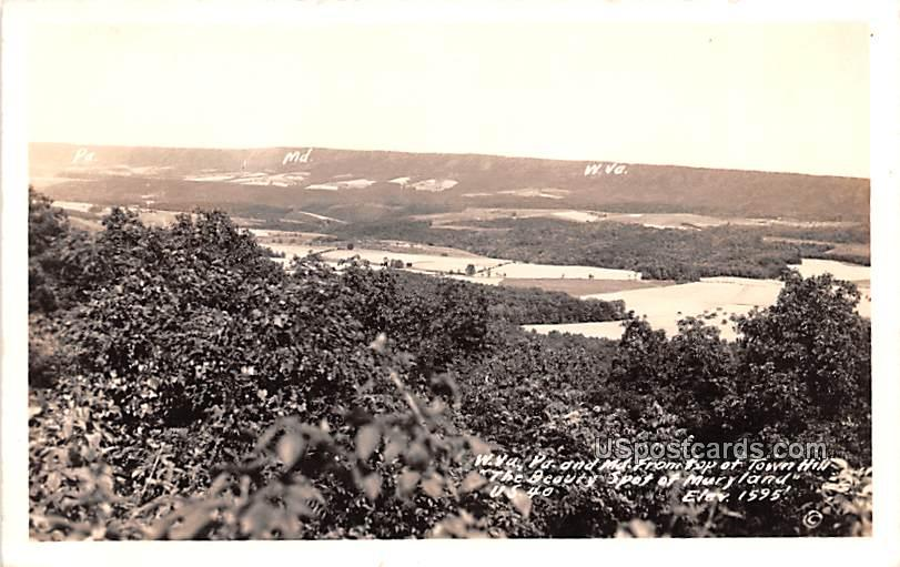 View from Top of Town Hill - Maryland, West Virginia WV Postcard