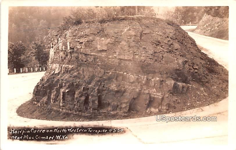 Hairpin Curve on North Western Turnpike - Macomber, West Virginia WV Postcard