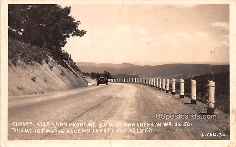 Curves, Allegany Front Mountain - New Creek, West Virginia WV Postcard